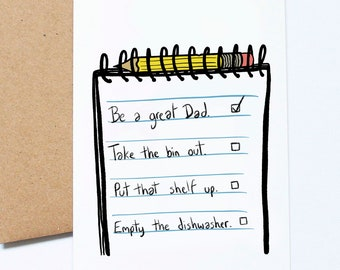 Be A Great Dad, Funny Father's Day Card, To Do List, Jobs For Dad,
