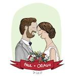Wedding Couple Portrait, Wedding Present, Custom Wedding Illustration, Gift for Married Couple, Bride and Groom Cartoon