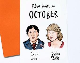 Book Lover Card, Famous Authors Birthday Card, October Birthday, Oscar Wilde, Sylvia Plath, Literary Postcard