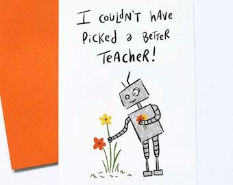 Thank You Teacher Card, Teacher Appreciation, End of Term, Child Graduation, Cute Robot