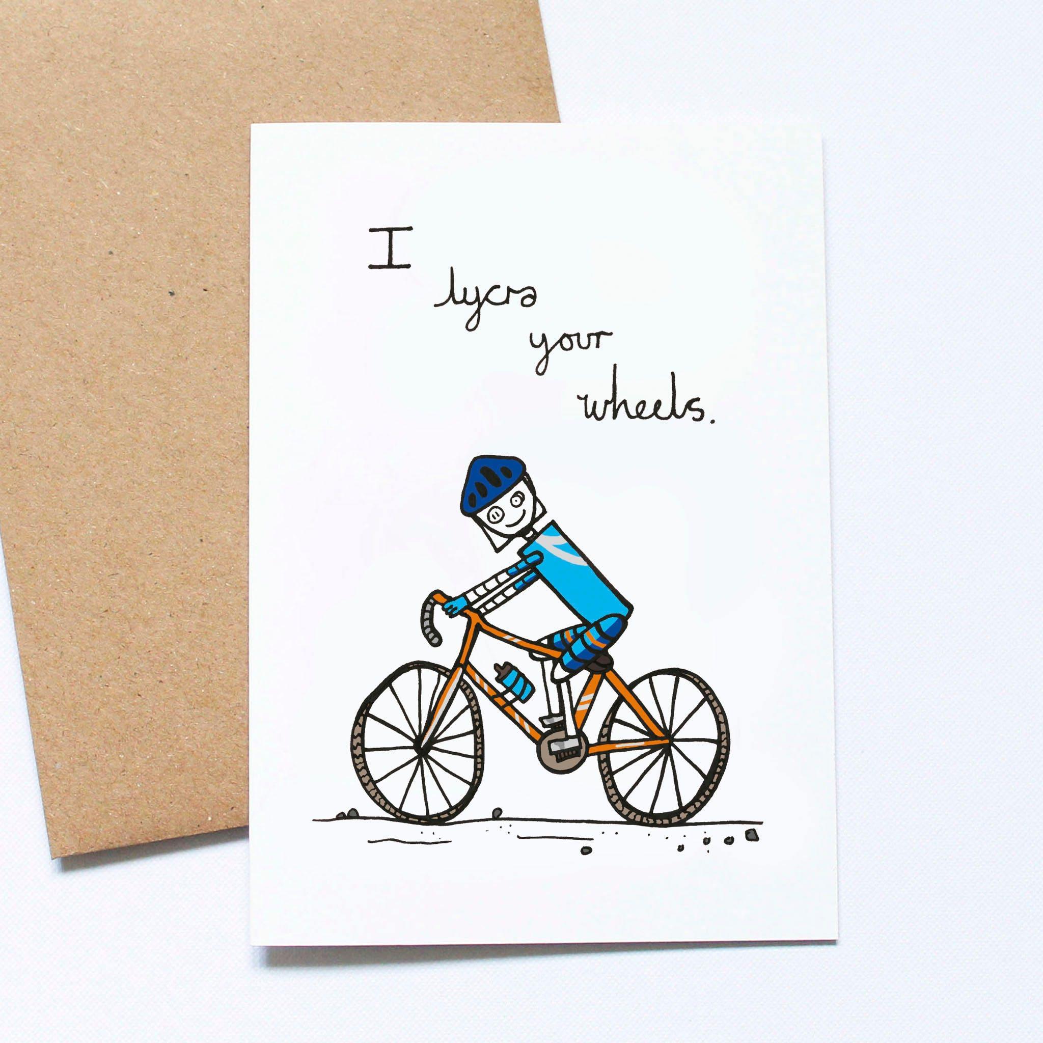 Funny Birthday Cycling Card Valentine S Card Cyclist Etsy