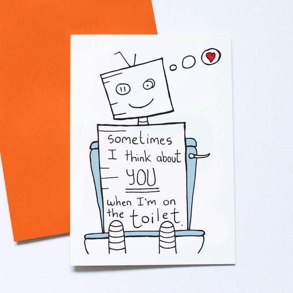 funny valentines card toilet jokes for him non romantic etsy