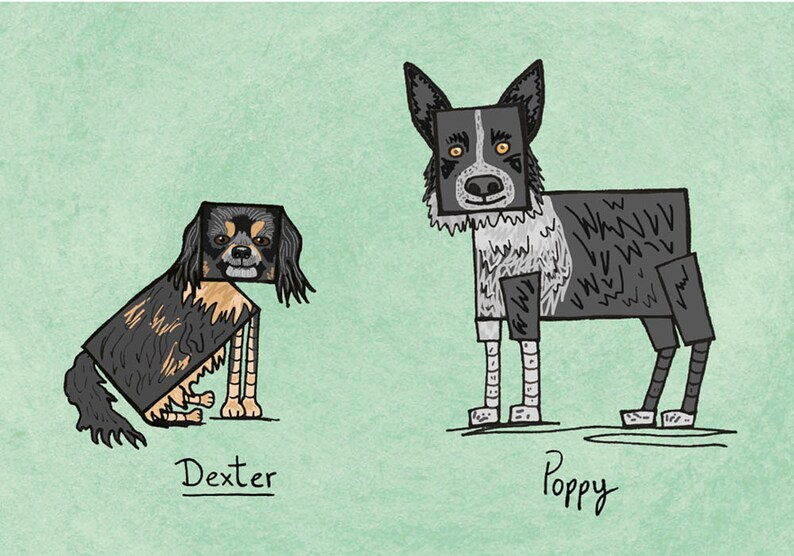 Cartoon Drawing Dog Illustration Wall Art Prints Funny Pet Gift Custom Pet Portrait