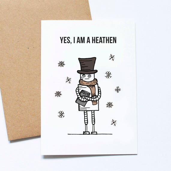 winter solstice card atheist card cute greeting card etsy