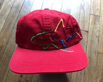 NEW Vintage 90s Greg Norman SHARK Logo Strapback hat Red Golf Deadstock  wraparound c8c44713cb25