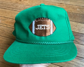 3cfce3865a6 Vintage 90s New York Jets Snapback Hat Green NFL Football Rope Brim