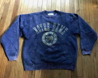 c254a1a0 Vintage 90s Notre Dame Crewneck Sweatshirt Football Large Irish Galt Sand  Acid Wash Distressed