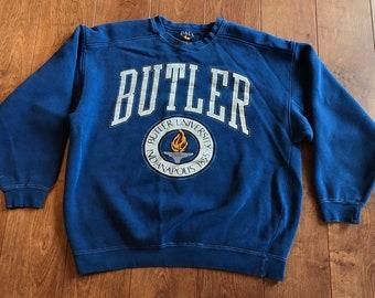 aeb55c36 Vintage 90s Butler University Bulldogs Crewneck Sweatshirt M/L Blue Indiana