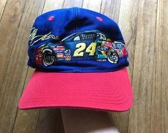 ebcca837a2c Vintage 90s Jeff Gordon CHASE Nascar Hat Snapback Racing Car  24 Dupont  Embroidered