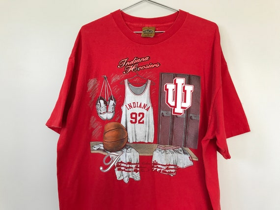 big sale c203e 91810 Vintage 90s Indiana Hoosiers Basketball T Shirt Nutmeg Locker Room XL 80s  Bobby Knight IU