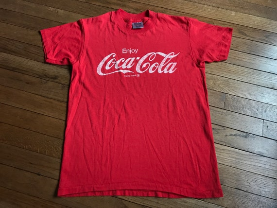 Vintage 90s Enjoy Coca Cola Classic Coke T shirt sz MS Pop Soda USA Red Oneita Drink