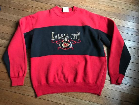 d3a46ab8 VINTAGE 90s Kansas City Chiefs Crewneck Sweatshirt Medium 90s Red NFl  Football Crable
