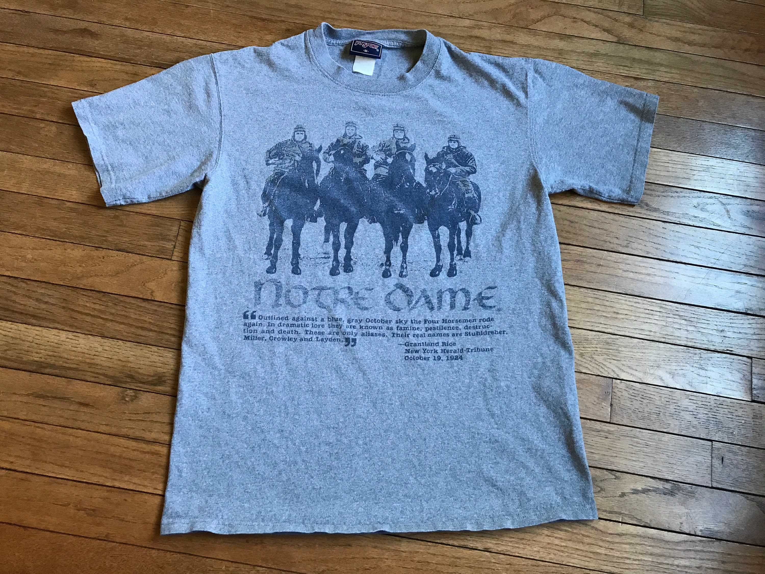 Vintage 90s Notre Dame Fighting Irish T Shirt Football Four Horsemen  Jansport