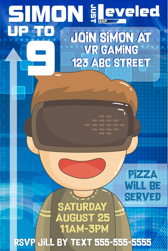 virtual reality birthday invitation for your gamer etsy