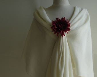 Wedding Wrap/ Shawl / bridal Cover Ups - Knitted in Lambswool - Colour Creamy White
