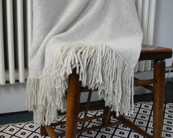 Throw blanket knitted in lambswool - palest grey- bed runner - sofa throw