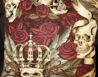 "Carpe Noctem Royal   cushion/ pillow  cover 16 "" × 16 "" with back panel Skulls Roses Crowns Goth Alexander Henry print"