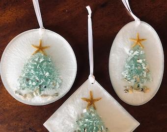 Holiday Decor Coastal Christmas Ornaments Set of 6 Tree Ornaments Glass Ornaments Beachy Glass Ornaments