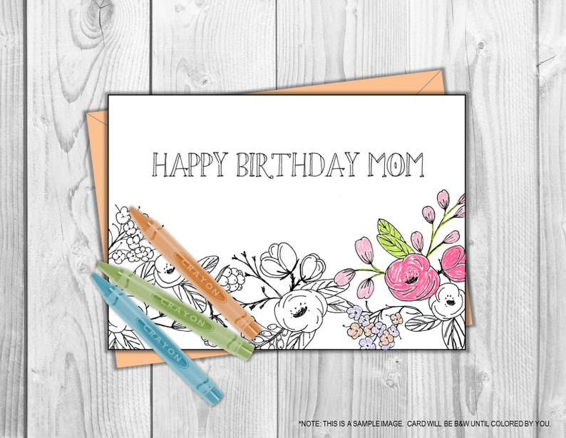photo regarding Happy Birthday Mom Printable Cards identify Joyful Birthday Mother Coloring Card Printable- Shade Your self, Birthday Present for Mother, For Her