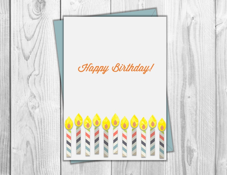 photograph relating to Birthday Candle Printable known as Joyful Birthday Candle Printable Card - Close friends Birthday, Household Birthday, For Him, For Her