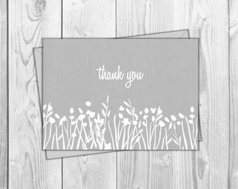 5x7 Thank You Printable Card- Gray - Friend, Wedding, Baby Shower, Just Because