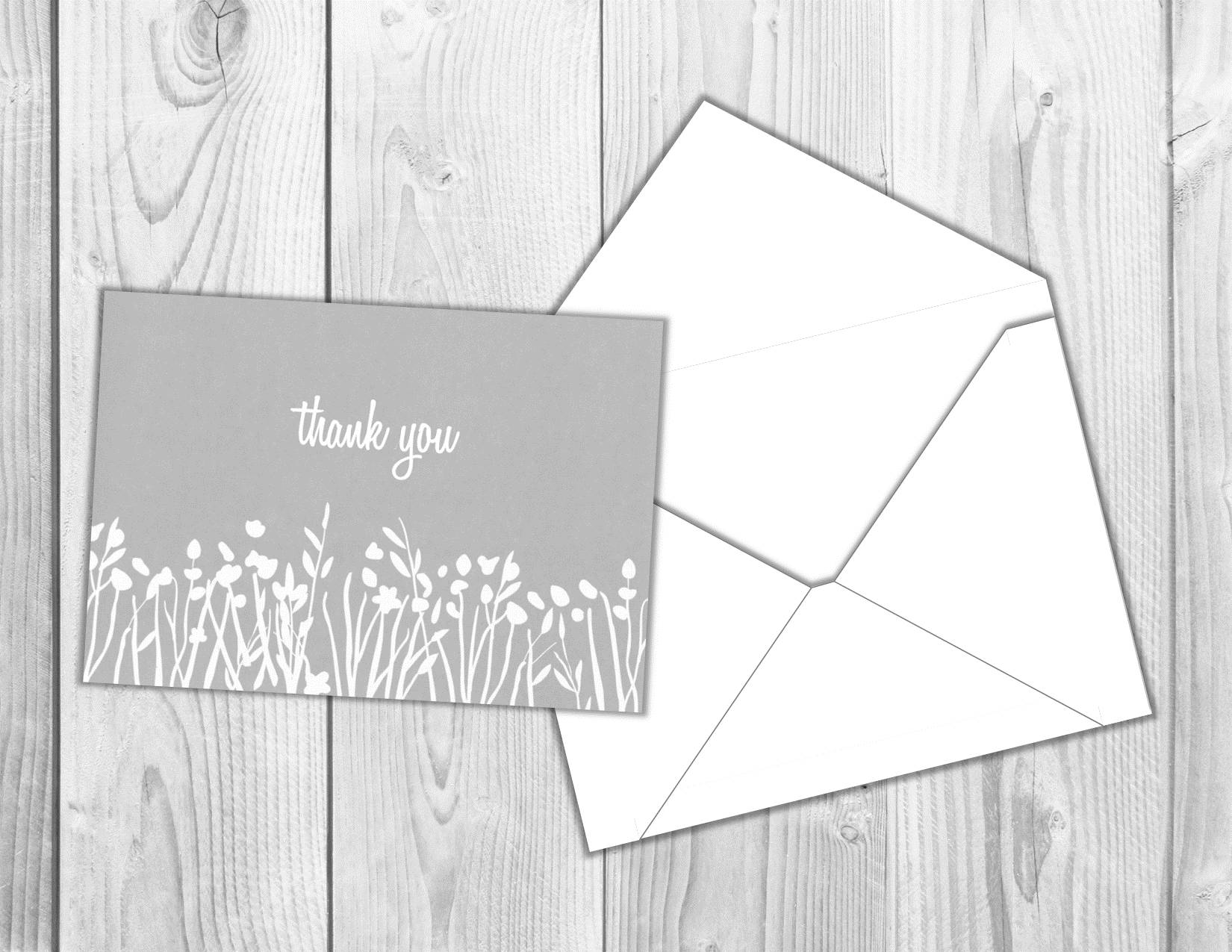 3.5x5in Gray Thank You Printable Card w/ Envelope Template