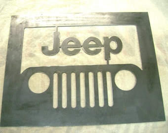 Jeep raw metal sign 14 gauge metal, Plasma Cut