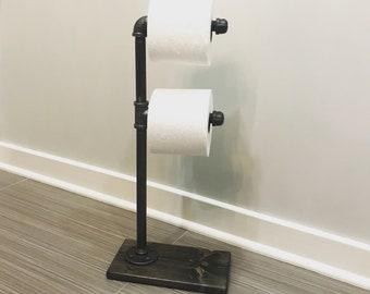 Rustic Industrial Toilet Paper Storage Stand Holder Floor TP Bathroom Decor