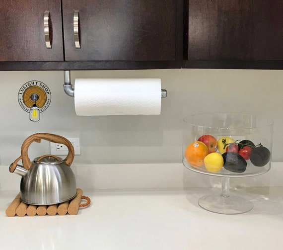 Pipe Paper Towel Holder, Under Cabinet Towel Rod, Paper Towel Roll, Towel  Dispenser, Paper Towel Rack, Industrial Kitchen, Modern Towel Bar