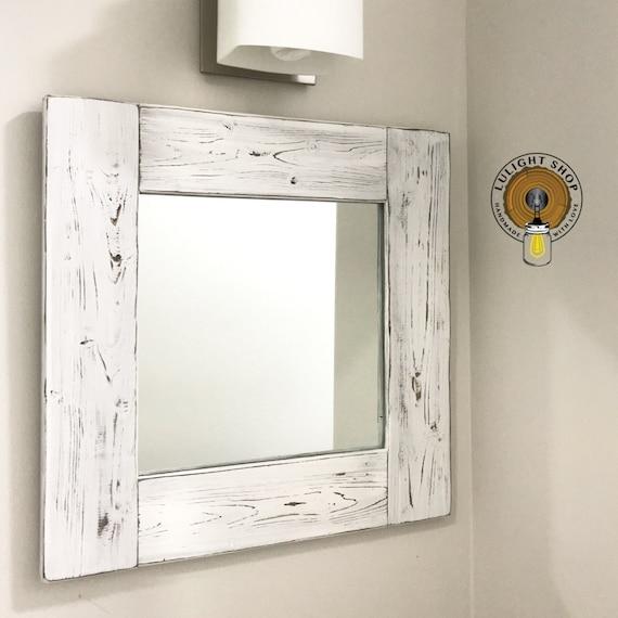 Whitewash Mirror Wood Frame Mirror White Wood Mirror Etsy