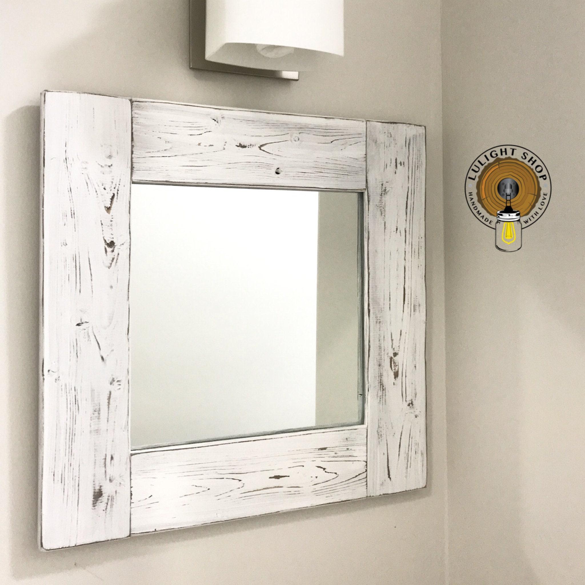 Whitewash Mirror Wood Frame Mirror White Wood Mirror Bathroom Mirror Wall Mirror Decorative Mirrors Small Mirror Large Mirror Beach