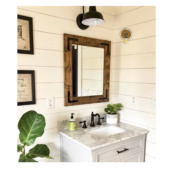 DARK WALNUT Mirror, Farmhouse Mirror, Country Framed Mirror, Rustic Wood  Mirror, Bathroom Wall Mirror, Vanity Cottage Small Large Mirrors