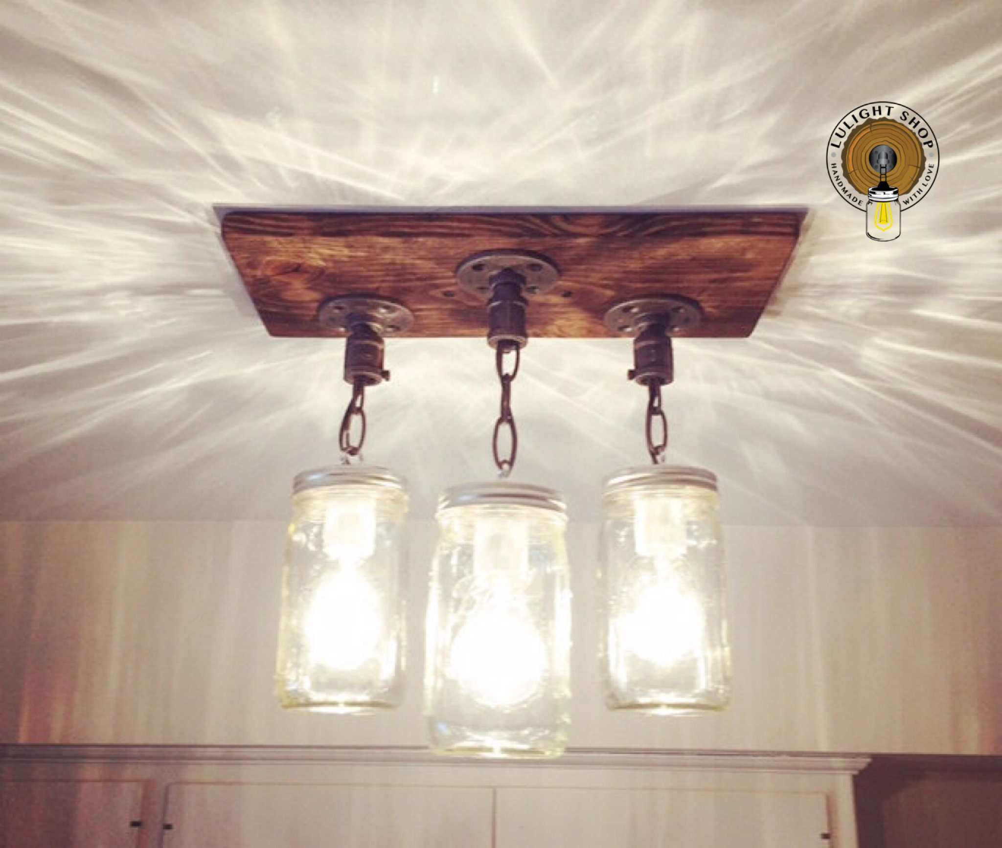 Just Reduced Rustic Handmade 3 Bulb Hanging Light Fixture Or: Rustic Industrial Modern Handmade Mason Jar Chandelier