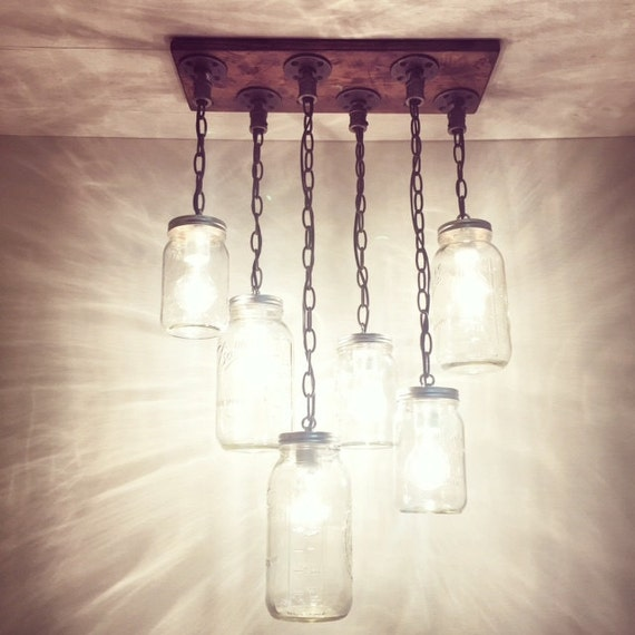 Rustic industrial modern handmade mason jar chandelier etsy image 0 aloadofball Gallery