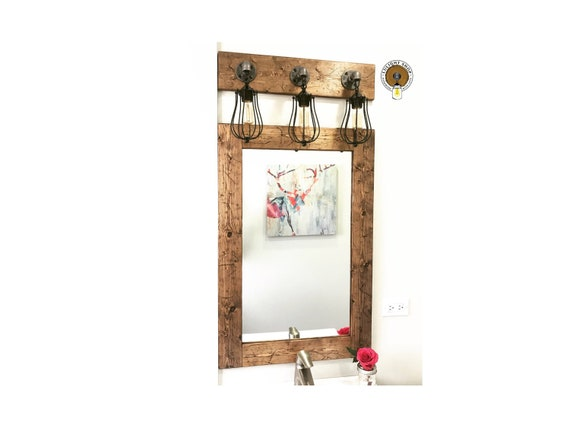 Rustic Distressed Framed Mirror Wood Frame Mirror Rustic Mirror Bathroom Mirror Farmhouse Mirror Vanity Mirror Small Large Mirrors