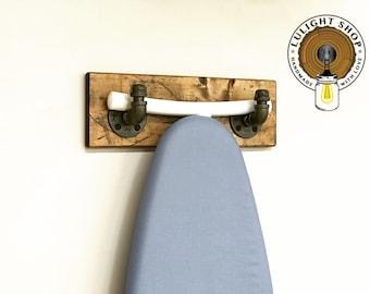 Rustic Ironing Table Pipe Hanger, Farmhouse Laundry Organizer, Pipe Ironing Board Storage, Pipe Hooks, Ironing Board Hooks Holder Idea