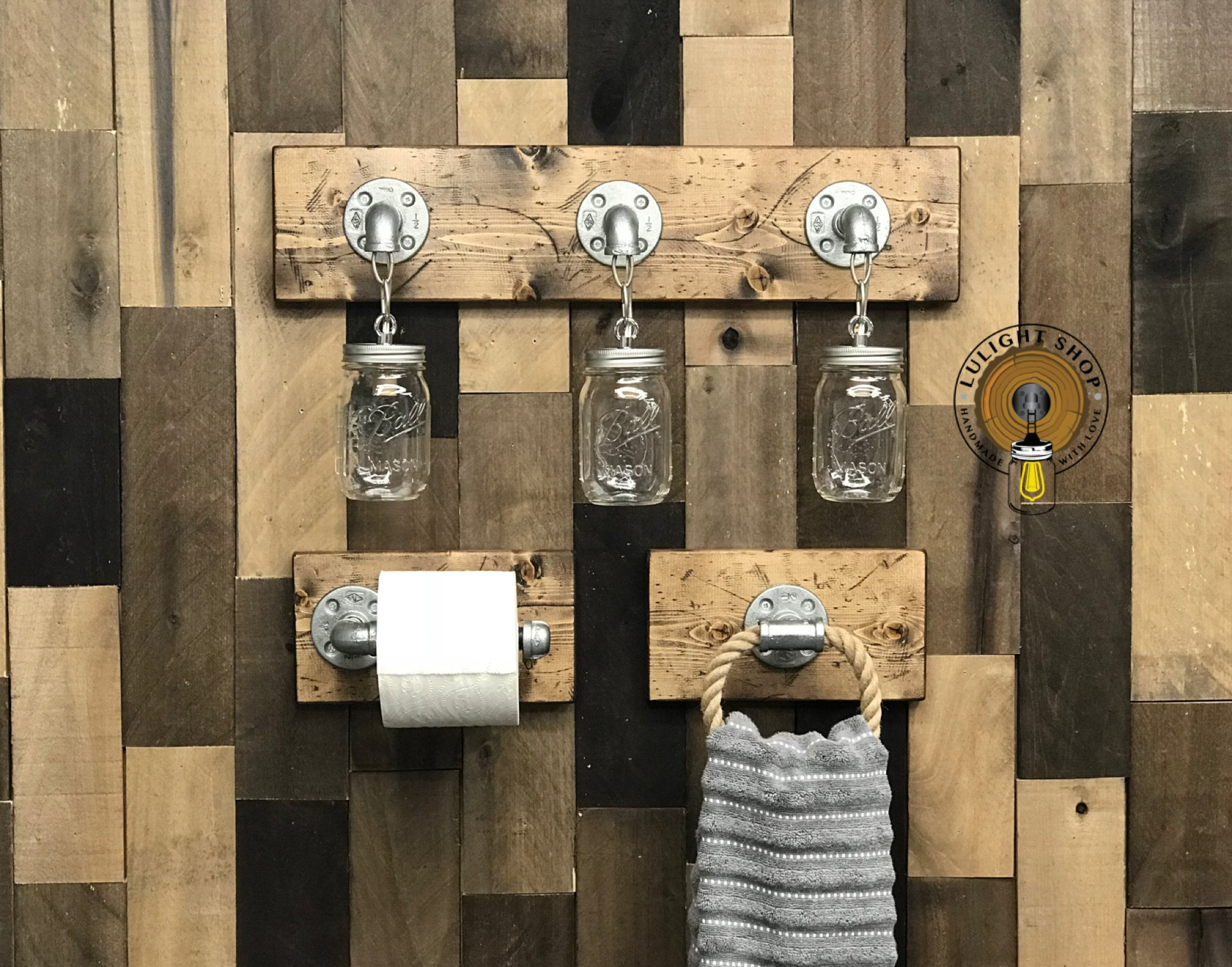 Rustic bathroom light fixture and accessories toilet paper holder towel holder on wood industrial bathroom decor modern farmhouse ideas