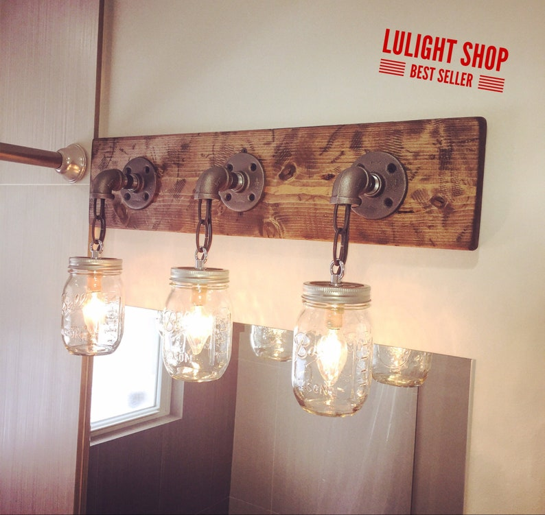 best website 60a6e 31652 RUSTIC DISTRESSED mason jar light fixture, 3 mason jars light, industrial  lights, modern light, vanity light, wall fixture, bathroom light