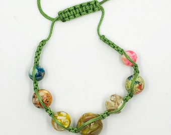 """7"""" - 12"""" adjustable knot bead and cord bracelet"""