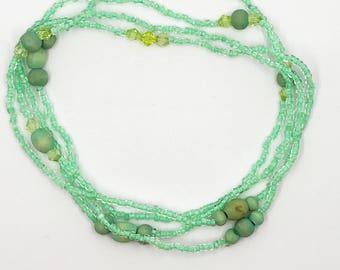 "51"" seafoam green continuous loop necklace"