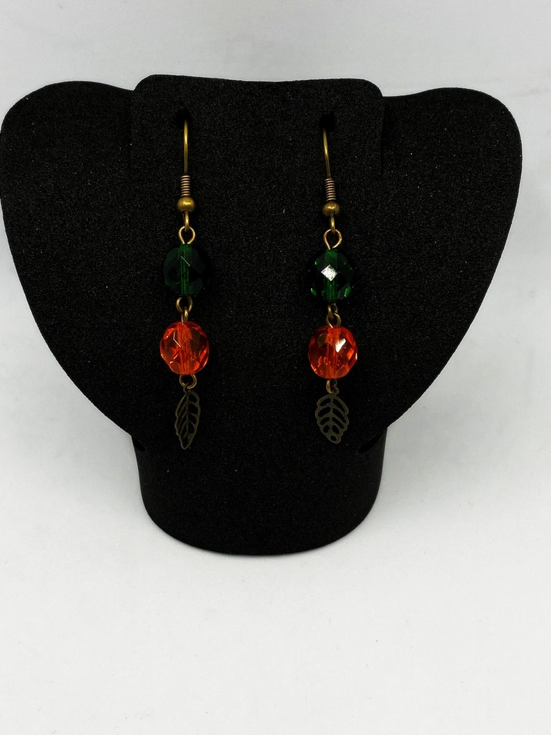 Green and orange fall leaf earrings