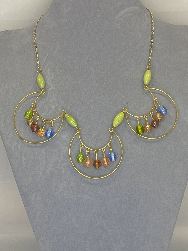 20 beaded gold frames necklace