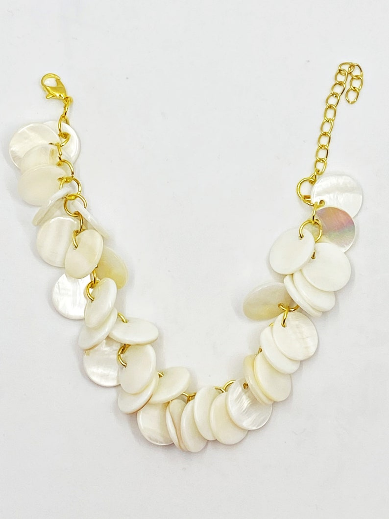 7 white mother of pearl coin bracelet