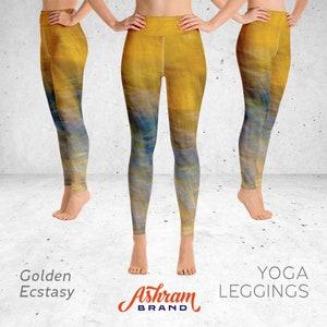 Golden Ecstasy Print Short Yoga Pants Short Yoga Leggings Yoga Shorts Women/'s Workout Leggings