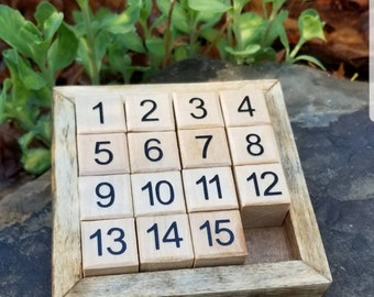 Wooden Fifteen Puzzle Game