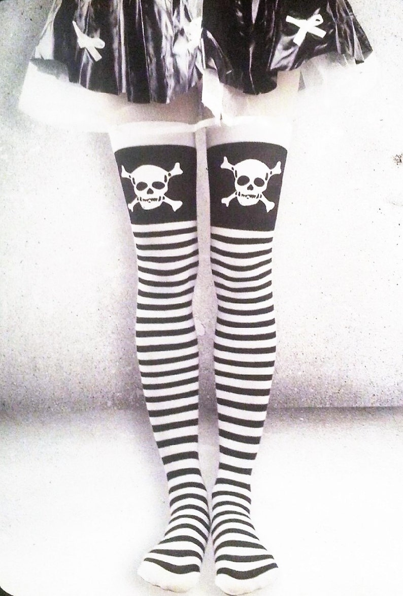 Over The Knee Socks With Skulls and Crossbones