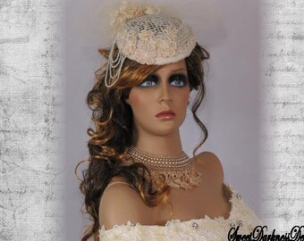 Victorian Steampunk BRIDAL CHOKER Necklace 1930s Vintage Pearls and Lace