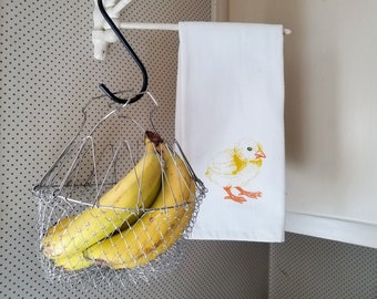 Vintage Collapsible Metal Mesh Hanging Egg/Fruit/Vegetable Basket ~ Vintage Kitchen Storage ~ Vintage Metal Basket ~ Farmhouse Chic
