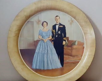 Vintage Queen Elizabeth II and Prince Philip Metal Handiware Tray by Baron ~ Made in England ~ 1953