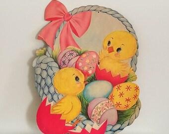 Vintage Die Cut Cardboard Easter Chicks in Basket Decoration ~ Vintage Easter Egg Decor ~ Vintage Paper Ephemera ~Vintage Spring Decor